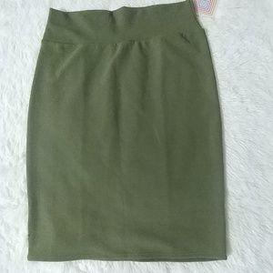 NWT LLR Solid Olive Green Cassie Knit Skirt XL